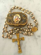 Antique Pearl Rosary St. Theresa Therese Case Box~Original rosary