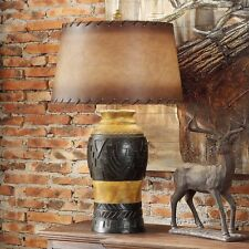 WESTERN RUSTIC INDIAN DESIGN STYLE TABLE LAMP LEATHER LOOKING SHADE DESK LIGHT