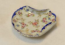 Vintage Antique Nippon Cobalt Blue & Pink Hand Painted Scallop Shell Dish /Plate