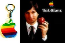 VINTAGE 1980's RETRO APPLE COMPUTER RAINBOW LOGO KEYCHAIN KEY CHAIN