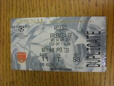 04/04/2001 Ticket: Arsenal v Valencia [Champions League]. This item has been ins