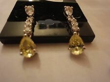 RHODIUM FASHION DROP EARRINGS WITH CLEAR AND YELLOW CZ STONES (RDCZE-109)
