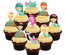 Mermaids Party Pack, 36 Edible Cup Cake Toppers, Stand-up, Girls' Decorations