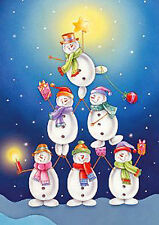 "Snowman Pyramid Christmas House Flag Star Gifts Snowmen Decorative  28"" x 40"""