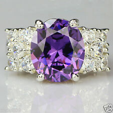 925 Silver Gold Filled Natural Tanzanite Size 8 Engagement Birthstone Ring 270