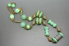 Vintage art deco Czech Filigree green peking glass blue enamel necklace