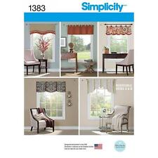 "SIMPLICITY SEWING PATTERN VALANCES FOR 36"" TO 40"" WINDOWS 1383"
