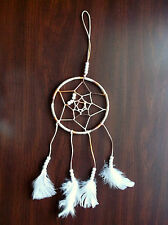 "5"" Brown/Tan Dream Catcher w/White Beads-18"" Long-Handmade By Pizazz Creations"