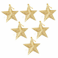 Pack Of 6 Hanging Ornaments Gold Glitter Stars Christmas Tree Decorations 3.5""