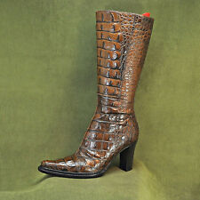 DONALD J. PLINER DJP Womens Brown Crocodile High Heel Boots Women's sz 6 M