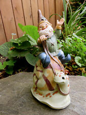 BOY GNOME SITTING ON SNAIL GARDEN STATUE Yard Ornament resin 8 in. new