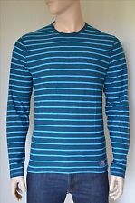 NEW Abercrombie & Fitch Long Sleeve Striped Crew Tee T-Shirt Blue S
