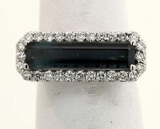 GORGEOUS 18K WHITE GOLD RING WITH 2.88 CTW INDICOLITE TOURMALINE AND DIAMONDS B1
