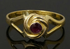 Antique 18Carat Yellow Gold Rubover Ruby Solitaire Ring (Size J) 7x7mm Head