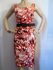 NEW ST JOHN KNIT 10 SHEATH DRESS WATERMELON ORANGE PEACH WHITE & TOBACCO BROWN