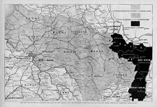 MAP OF FRANCE AND PROPOSED GERMAN OCCUPATION VERSAILLES LUXEMBOURG SEINE ORLEANS