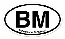 "BM Belle Meade Tennessee Oval car window bumper sticker decal 5"" x 3"""