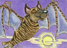 Great Dane bat dog Halloween Night moon ACEO EBSQ Loberg Mini Art Fantasy puppy