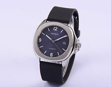 Casual 40mm Parnis Automatic Silver Case Black Rubber Strap Watch Blue Dial