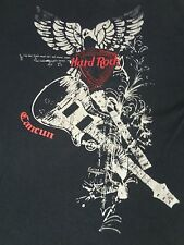 HARD ROCK CAFE CANCUN EMBROIDERED LOGO SEWN ON PATCHWORK 2XL BLACK T-SHIRT E1315