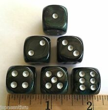 DICE - CHX 16mm BOREALIS SERIES #2- *6* SMOKE w/SILVER PIPS! WOW! THE COLORS!