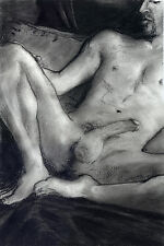 NUDE male, gay, RECLINE, Drawing Esteban Charcoal Pencil Graphite Realism 1/7/50