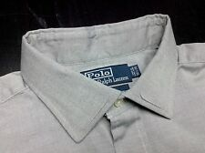RALPH LAUREN Philip Mens 16.5 35 Light Gray Oxford Long Sleeve French Cuff Shirt