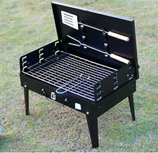 NEW FOLDING BBQ CHARCOAL PORTABLE BARBECUE PICNIC TRAVEL GRILL + TOOLS