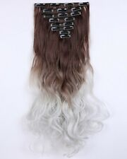 "24"" Curly Medium Brown To Silver Grey Full Head 18 Clips Clip in Hair Extensions"