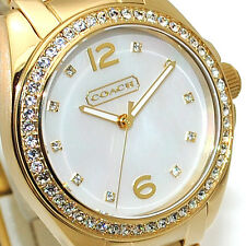 New Coach Womens Watch Gold Bracelet TRISTEN Swarovski & MOP w/Box 14501657