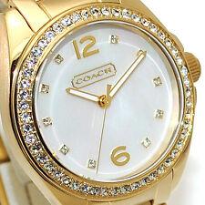 New Coach Womens Watch Gold Bracelet TRISTEN Swarovski & MOP w/Box 14501657