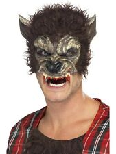 Werewolf Half Face Mask Brown with Fur and Teeth - Halloween Accessory - 22711
