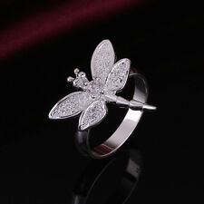 925 Sterling Silver Butterfly Dragonfly Ring Size 8 B5
