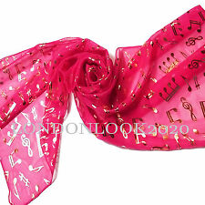 Women Ladies Gold Foil Music Note Neck Fuchsia Scarf Shawl Wrap Lovely Colour