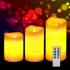 Set of 3 LED Flickering Flameless Votive Candles Light + Remote Control & Timer