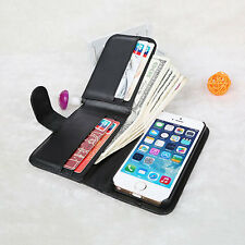 For Apple Iphone 5/S Synthetic Leather Credit Card Holder Wallet Flip Case Cover