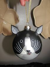 CHRISTMAS ROUND Blown Glass ORNAMENT Black White CAT FACE Glitter Whiskers Ears