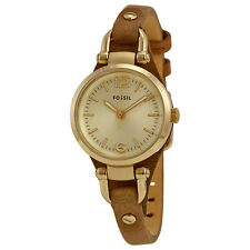 Fossil Georgia Mini Champagne Dial Brown Leather Strap Ladies Watch ES3264