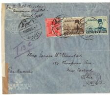 EGYPT 1942 US ASYOT TO NEW CONCORD OHIO T13C POSTAGE DUE BRITISH CENSOR & LABEL