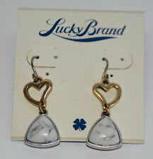 NWT Lucky Brand SIlver & Gold Metals Hearts & Marbled Stone Drops