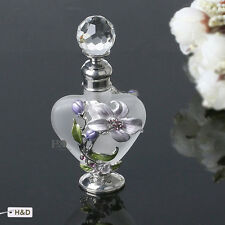 Antique Empty Glass Metal Art Deco Perfume Bottle Lily Flower Lady Xmas Gift 9ml
