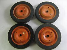 "Vintage Lot of 4 Metal Pedal Car Wagon Cart Wheels Tires 10"" x 1.50"" Solid"