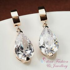 18K Rose Gold Plated Simulated Crystal Water Drop Earrings