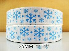 2 METRE FROZEN SNOWFLAKE RIBBON SIZE 1 INCH BOWS HEADBANDS CAKE BABY HAIR CL