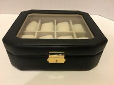 Watch Box & Glass Cover Storage Box Black Holds 8 watches