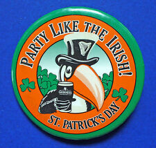 ST PATRICK PIN BUTTON-GUINESS Beer Toucan Bird PARTY Like IRISH Vtg Pinback