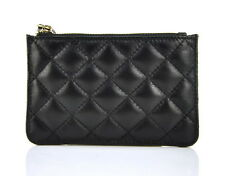 Women Genuine Leather Coin Change Wallet Quilted Purse Credit Card Bag Key Chain