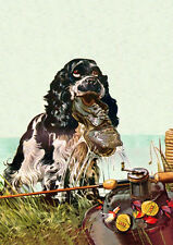 COCKER SPANIEL GOES FISHING AND MAKES A CATCH COMIC DOG GREETINGS NOTE CARD