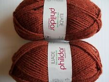 Phildar Iliade wool blend yarn, Warm Brown (Ecureuil), lot of 2, (92 yds each)