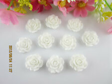 NEW 20pcs White Resin Rose Flower flatback Appliques For DIY phone/wedding/craft